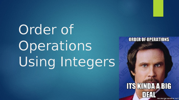 Order of Operations Using Integers PowerPoint
