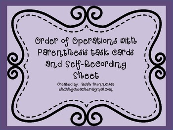 Order of Operations With Parenthesis Task Cards