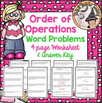 Order of Operations Word Problems Practice Homework Worksheet