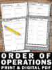 Order of Operations Worksheets 5th 6th Grade Common Core M