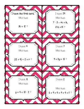 Order of Operations Wrap Around Game