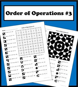 Order of Operations (advanced) Color Worksheet #3