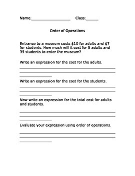 Order of Operations and Equations