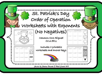 Order of Operations with Exponents (No Negatives) St. Patr