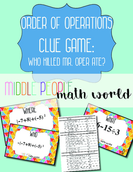 Order of Operations with Integers Clue Game Task Cards