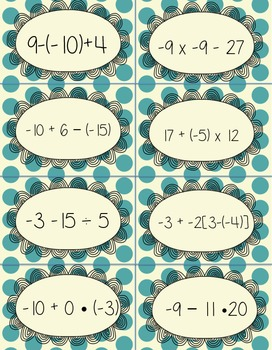 Order of Operations with Integers, Decimals, and Fractions War