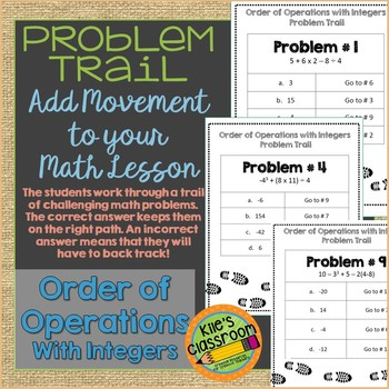 Order of Operations with Integers Problem Trail- Movement