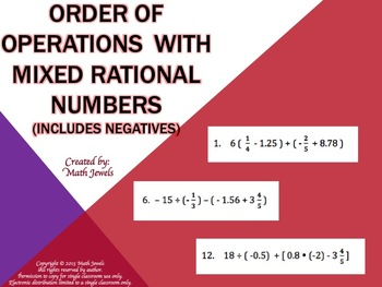 Order of Operations with Mixed Rational Numbers (Includes