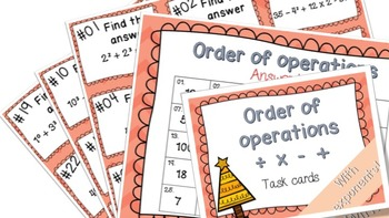 Order of operations Task Cards ! Math centers