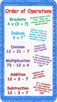 Order of operations poster (BIDMAS) Brackets, Indices, Div