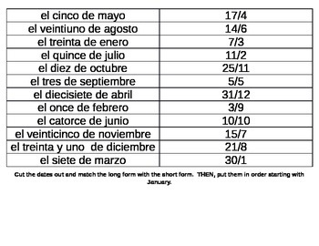 Order the Dates in Spanish Activity