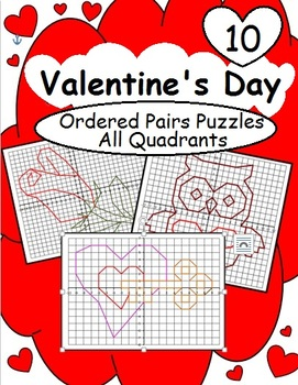 Ordered Pairs Picture Puzzles (All Quadrants – Valentine's Day)