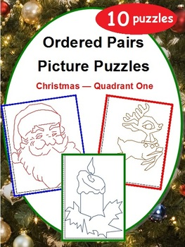 Ordered Pairs Picture Puzzles (Quadrant One - Christmas)