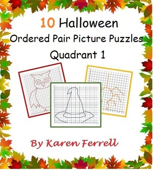 Ordered Pairs Picture Puzzles (Quadrant One - Halloween)