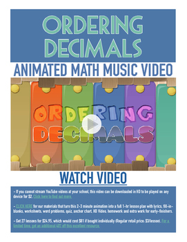 Ordering Decimals | FREE Poster, Worksheet, & Fun Video |