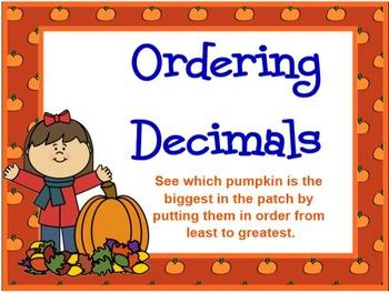 Ordering Decimals Pumpkin Theme