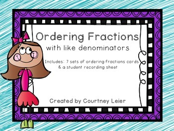 Ordering Fractions with like Denominators