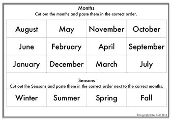 Ordering Months and Seasons (USA) Cut and Paste
