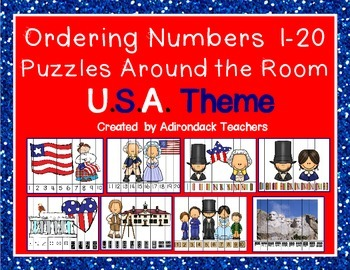 Ordering Number Puzzles 0-20 U.S.A. Theme