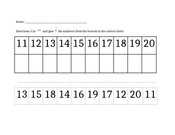 Ordering Numbers 11-20 (cut and paste)