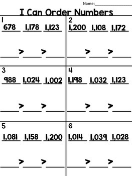 Ordering Numbers up to 120