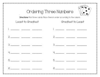 Ordering Three Numbers Card Game
