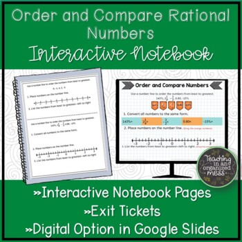 Ordering and Comparing Rational Numbers Math Notebook Page