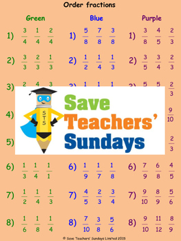 Ordering Fractions Using a Fractions Wall Lesson Plans, Wo