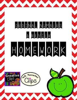 Ordinal Number Worksheets/Homework (+ review)