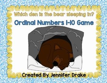 Ordinal Numbers 1-10 Game  ***Hibernation Theme***