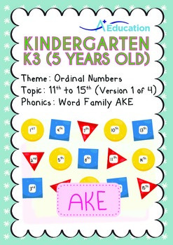 Ordinal Numbers - 11th to 15th (I): Word Family AKE - K3 (