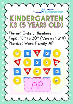 Ordinal Numbers - 16th to 20th (I): Word Family AP - K3 (5
