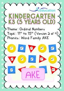 Ordinal Numbers - 11th to 15th (II): Word Family AKE - K3