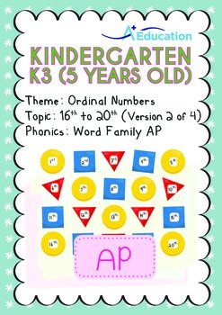 Ordinal Numbers - 16th to 20th (II): Word Family AP - K3 (