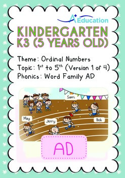 Ordinal Numbers - 1st to 5th (I): Word Family AD - K3 (5 y