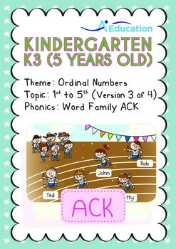 Ordinal Numbers - 1st to 5th (III): Word Family ACK - K3 (