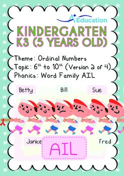 Ordinal Numbers - 6th to 10th (II): Word Family AIL - K3 (