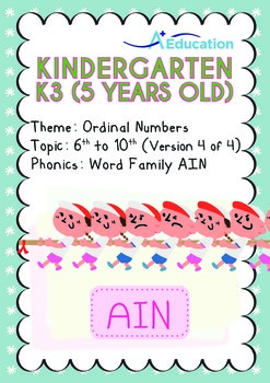 Ordinal Numbers - 6th to 10th (IV): Word Family AIN - K3 (