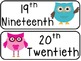 Ordinal Number Mini Posters- Owl Themed