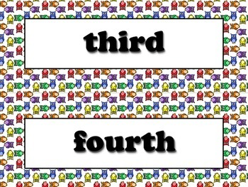 Ordinal Numbers Vocabulary Strips - Word Wall - Owls Theme
