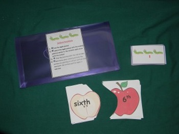 Ordinal numbers-positions-Math center-File Folder Game