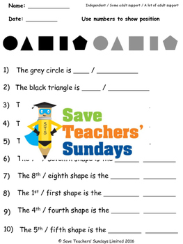 Ordinal numbers worksheets (3 levels of difficulty)