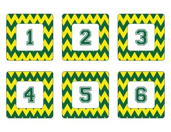 Oregon Ducks Inspired Yellow and Green Chevron Calendar Pi