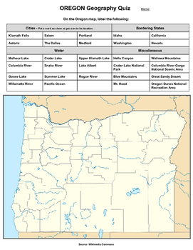 Oregon Geography Quiz