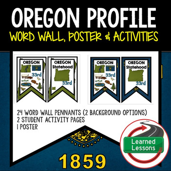 Oregon History Word Wall, State Profile, Activity Pages