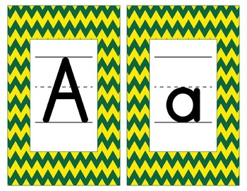 Oregon Inspired Yellow & Green Alphabet & Number Cards for