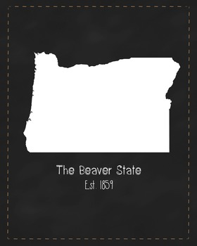 Oregon State Map Class Decor, Government, Geography, Black