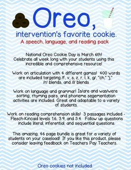 Oreo: Intervention activities for language, articulation,