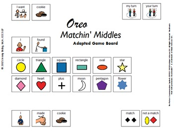 """Oreo Matchin' Middles"" Adapted Game Board for Functional"