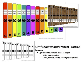 """Orff / Boomwhacker Visual (8.5x11"""" Print, Letter Name on Top)"""